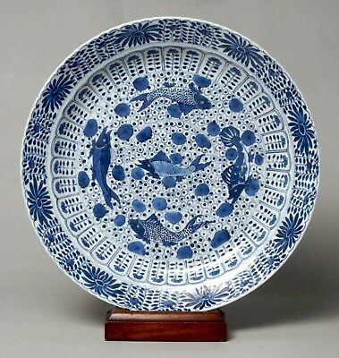 Very Beautiful Large Antique Chinese Porcelain Fish Charger, Kangxi Marks