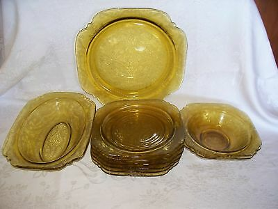 Amber Depression Glass Federal Madrid Plates/bowls