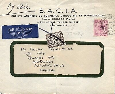 TANGIER; cover Tangier to Harpenden marked 2d to pay and postage due added