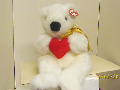 Romeo 14in retired 1997 TY Classic plush gold ribbon bear with heart 3up 5310