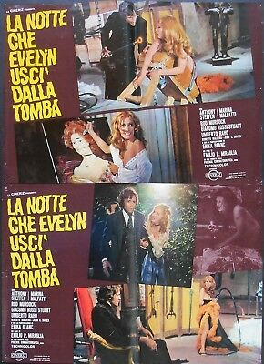 THE NIGHT EVELYN CAME OUT OF THE GRAVE 6 x 19x27 Italy Fotobusta 1971 HORROR