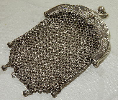 Super Antique Solid Silver Mesh Purse - Nice Clasp & Chatelaine Loop