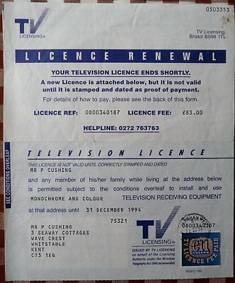 PERER CUSHING's final TV licence   ***UNIQUE ITEM***