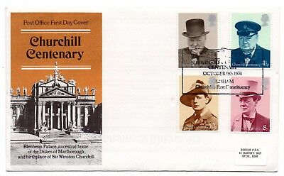 GB 1974 Winston Churchill FDC First Constituency, Oldham special handstamp VGC