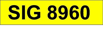 SIG 8960  Dateless Personal Cherished Number Plate for any age vehicle .