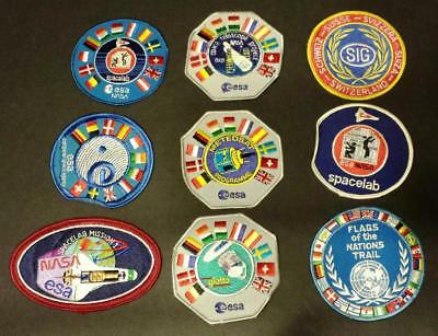 9 Mixed Lot of European Space Agency(ESA)/NASA International Space Patches