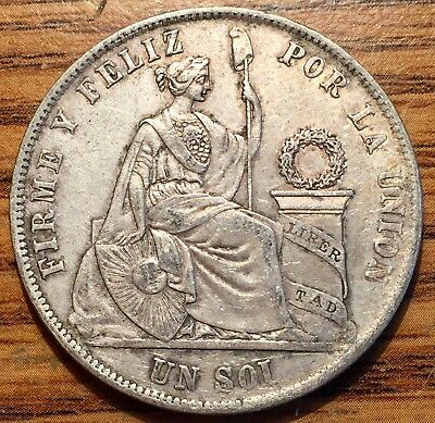 1869 YB Lima Silver Peru Un Sol Seated Liberty Coin About Uncirculated Arabic 1