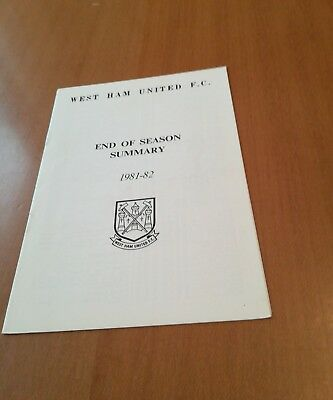 West Ham United Results Summary For 1981/82.