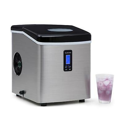 Klarstein Silver Ice Cube Machine Counter Top Stainless Steel Ice Cubes Maker