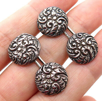 Antique Victorian 925 Sterling Silver Handmade Repousse Design Mens Cufflinks