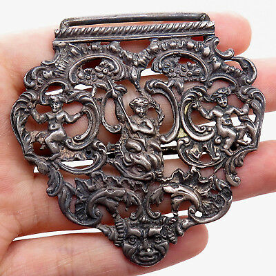 Antique Victorian 925 Sterling Silver Handmade Rare Design Belt Buckle Part