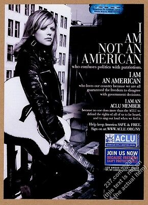 2004 Dixie Chicks Natalie Maines photo ACLU vintage print ad
