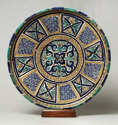 Excellent Large Antique 19Thc Islamic Moroccan Pottery Bowl