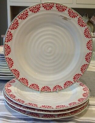 Sophie Conran For Portmeirion 4 X Dinner Plates Christmas  Red Green