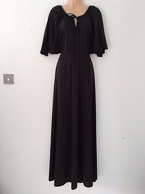 Vintage 1970's Retro Classic Black Pointed Sleeve Boho Maxi Dress Size 14