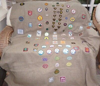 Vintage Girl Guide Blanket With Approx 88 Badges