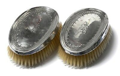 Good Pair Of Antique Liberty & Co Silver Backed Hair Brushes Brush B'ham 1915.