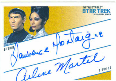 Star Trek Quotable TOS Dual Autograph DQA2 Lawrence Montaigne & Arlene Martel