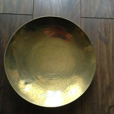 Vintage Chinese Brass Bowl. Etched.