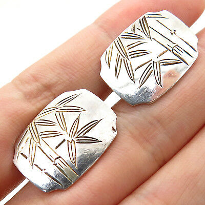 Japan Vintage 950 Sterling Silver Bamboo Design Collectible Mens Cufflinks