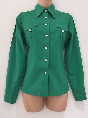 Vintage 70's Retro Grass Green Pocket Detail Pointed Collar Long Sleeve Shirt 12