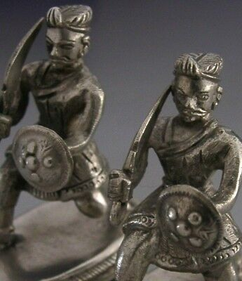 Rare Sterling Silver Anglo Indian Military Mughal Soldiers 1880 Military Antique
