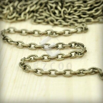 4m Unfinished Bulk Chains Necklace DIY Antique Brass Cable Chain 3.7x2.55mm YB