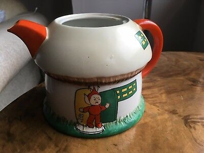 Art deco Shelley Mable Lucie Attwell Pixie / Elves nursery ware teapot - no lid.