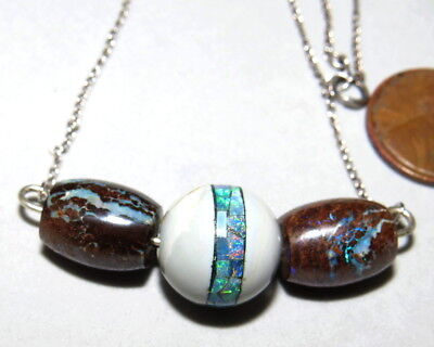 Australia Boulder Opal Beads Sterling Silver Necklace Rare