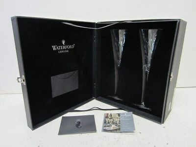 "2 Waterford Wishes ""Believe"" Crystal Glasses w/ Flute Stem - in Decorative Case"