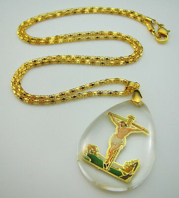 New Gold belief Jesus Cross Virgin Mary Pattern Mosaic Crystal Pendant Necklace