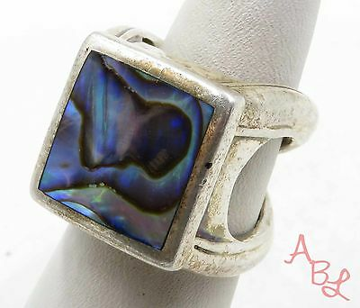 Sterling Silver Vintage 925 Rare Quad Band Abalone Ring Sz 7 (14g) - 568117