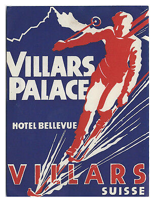 Villars Palace/Bellevue Hotel VILLARS Switzerland - vintage luggage SKI label