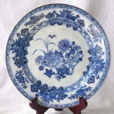 C19Th Chinese Blue And White Plate Decorated With Flowers Within A Border