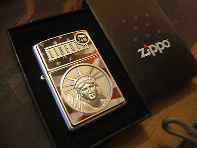 Gorgeous Old Stock Heavy Plate Face Of Liberty 3D  Zippo Lighter Ret $34.95