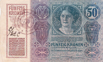 50 Krone Banknote 1919!with Un Id. Stamp Of Kingdom Of Serbs,croats Slovenes!