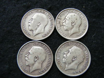 George V .925 Silver Shillings Lot of 4: 1911 1912 1913 1914 nF - gF