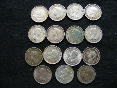AUSTRALIA Silver Threepences Lot of 15 mixed dates & condition as pictured