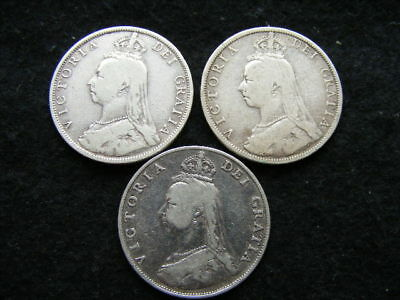 Victoria Jubilee Head Halfcrowns Lot of 3: 1887 1890 1891 as pictured
