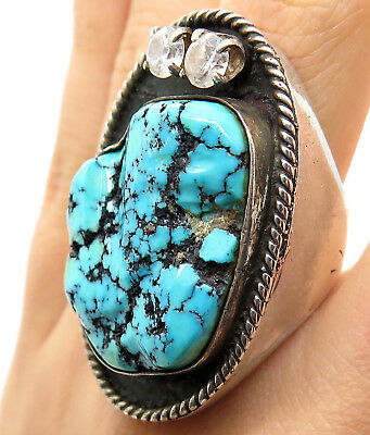 Southwestern Old Pawn 925 Sterling Silver Morenci Turquoise Handmade Tribal Ring