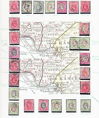 SOUTHERN NIGERIA1901-12 QV-Evii LOVELY CLEAN DATED POSTMARK COLLECTION(25stamps)