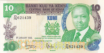10 Shillings Aunc-Unc Banknote From Kenya 1982!pick-20