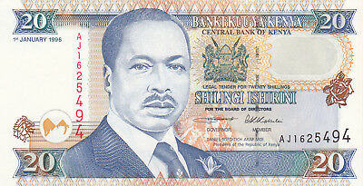 20 Shillings Aunc-Unc Banknote From Kenya 1996!pick-35