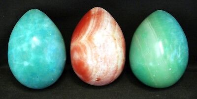 3 x Sea Blue & Pink Onyx or Marble Eggs : 2.75 Inches - VGC