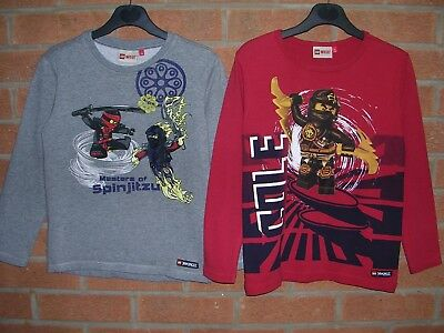 LEGO WEAR Boys Spinjitzu Red Grey Long Sleeve Top Tops T-Shirt Age 7 122cm