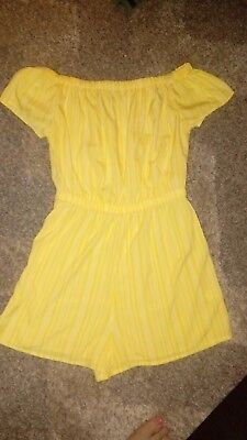 Ladies yellow off the shoulder playsuit holiday casual size 14 new without tags