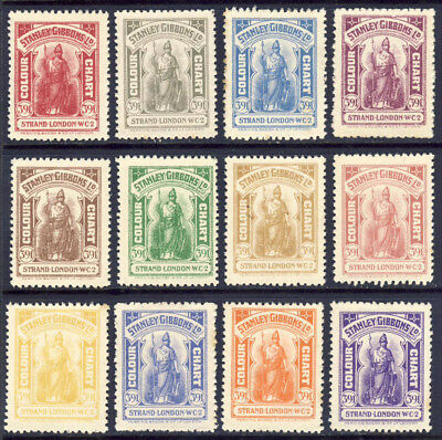 Stanley Gibbons 1930s Britannia Colour Guide stamps, printed by Perkins Bacon.