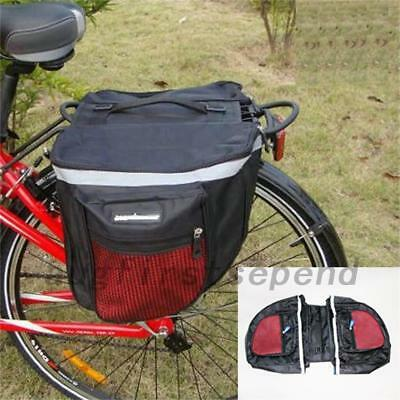 Outdoor Travel Bicycle Cycling Rear Seat Double Panniers Bags Trunk Rack Pack