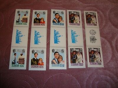 Wedding 1981 Prince Charles & Diana Tonga stamp set + surcharge in gutter pairs