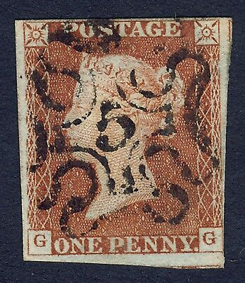 QUEEN VICTORIA 1841, 4-MARGIN, 1d RED-BROWN, WITH LONDON No.5 IN MALTESE CROSS